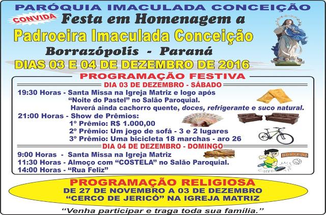 FESTA DA PADROEIRA EM BORRAZÓPOLIS 2016