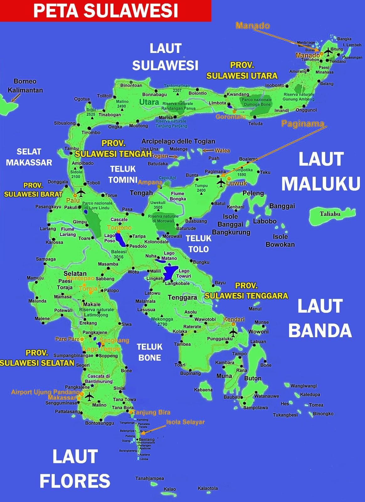 Peta Sulawesi Lengkap 5 Provinsi Sejarah Negara Gambar Hd Buta