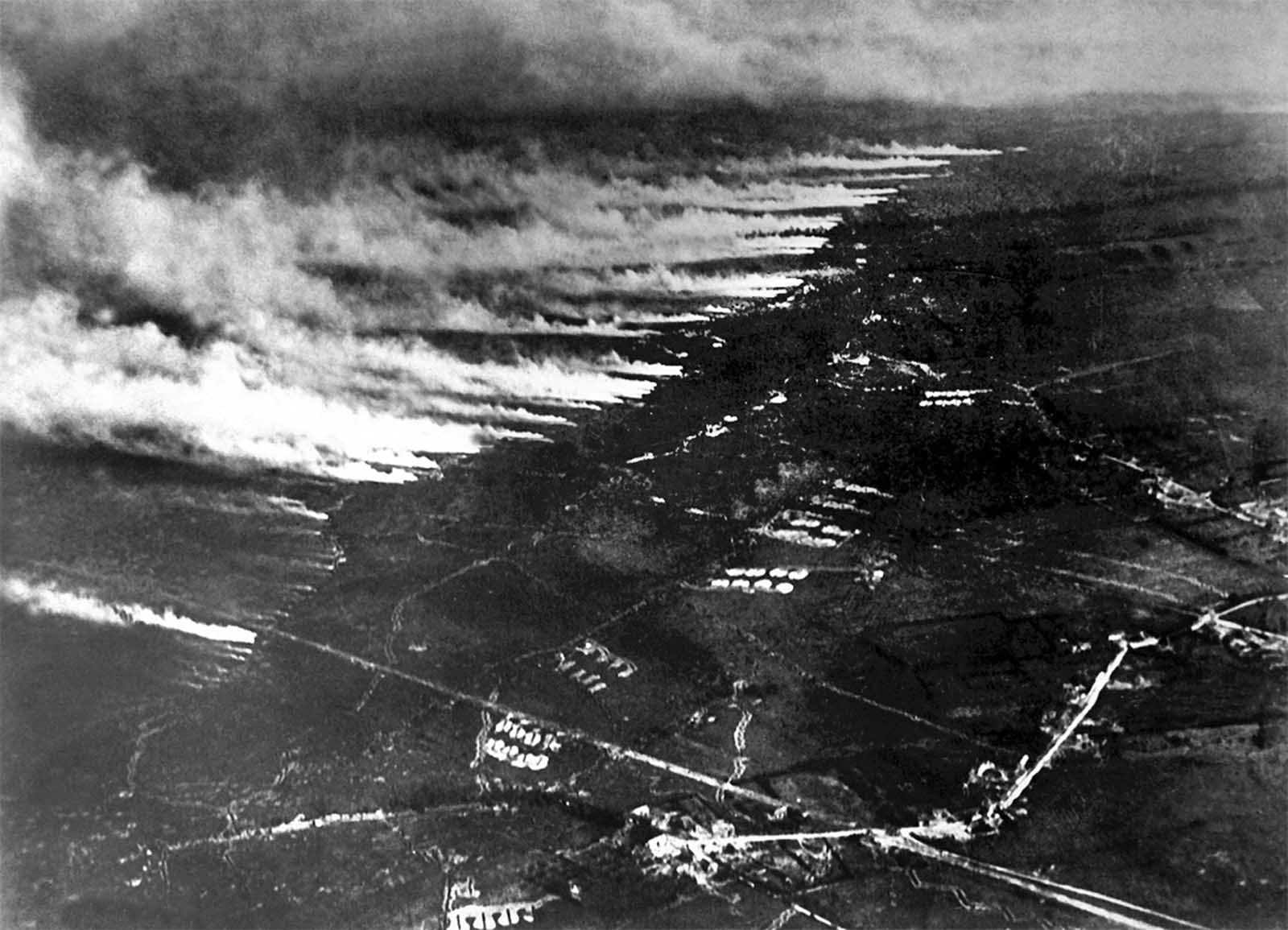French soldiers make a gas and flame attack on German trenches in Flanders, Belgium, on January 1, 1917. Both sides used different gases as weapons during the war, both asphyxiants and irritants, often to devastating effect.