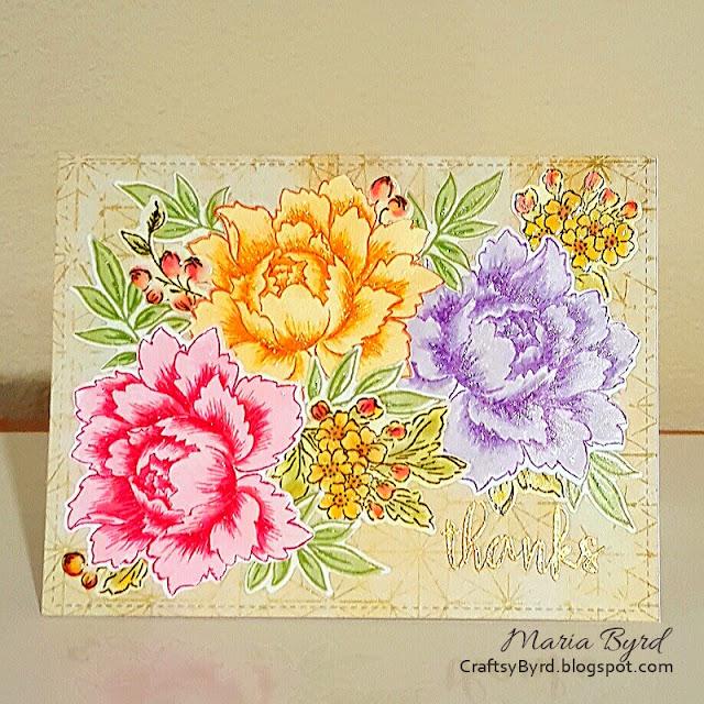 Altenew Peony Thanks Card by Maria Byrd at CraftsyByrd.blogspot.com