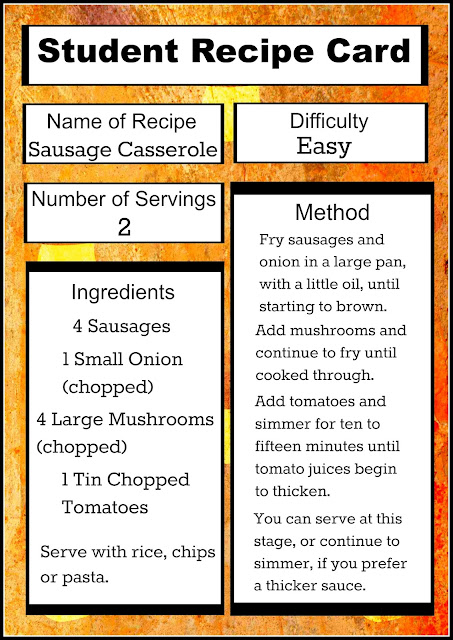 An easy recipe card for students, with just a few cheap ingredients and not much time!
