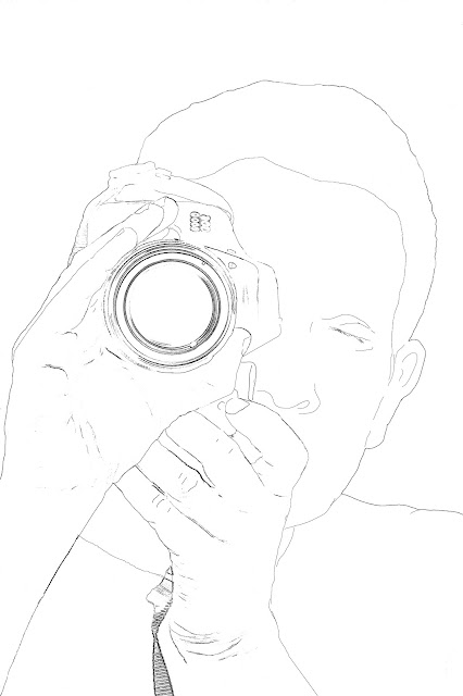 sketch of man with camera
