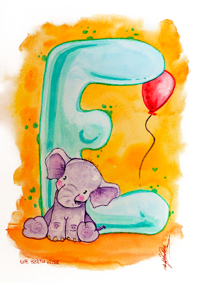E for Elephant by Elizabeth Casua, tHE 33ZTH oRDER watercolour artwork. Initials, alphabet paintings.