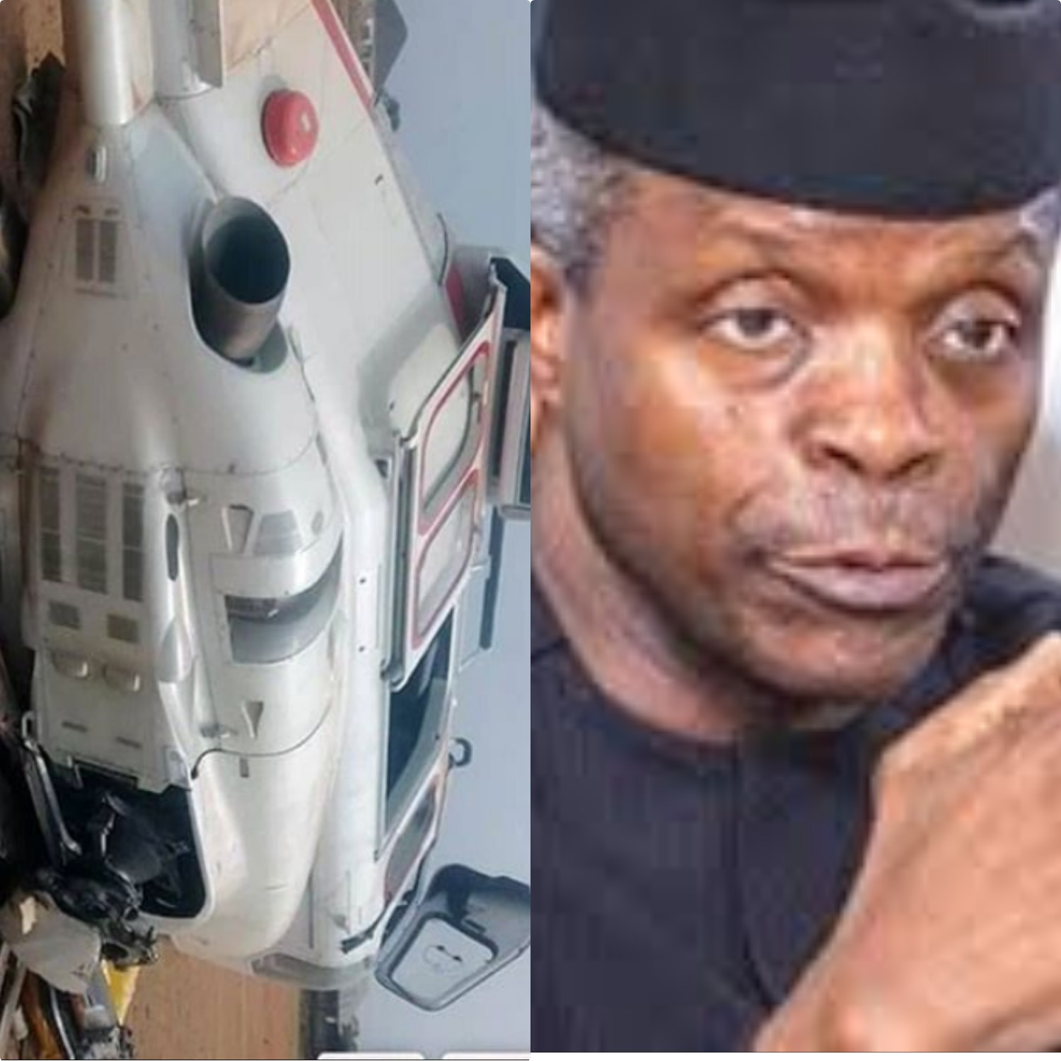 See how vice president osinbanjo  escape death in kabba kogi state as his Helicopter crashed