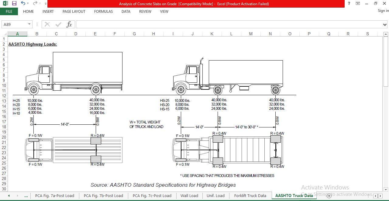 Analysis Of Concrete Slabs On Grade Spreadsheet Download Free