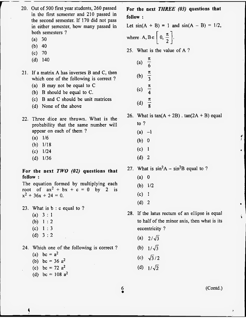 Questions and answer key of NDA NA 2012 April mathematics exam