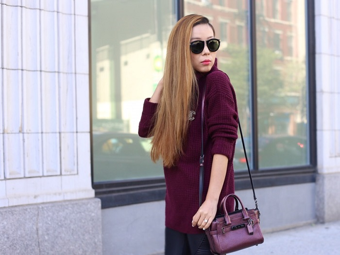 Free People Sidewinder Wool Pullover, Coach swagger 20 in metallic pebble leather, karen Walker harvest sunglasses, chanel brooch, blank denim pants, sam edelman heels, burgundy booties, fall fashion, burgundy outfit, nyc blogger, fashion blog