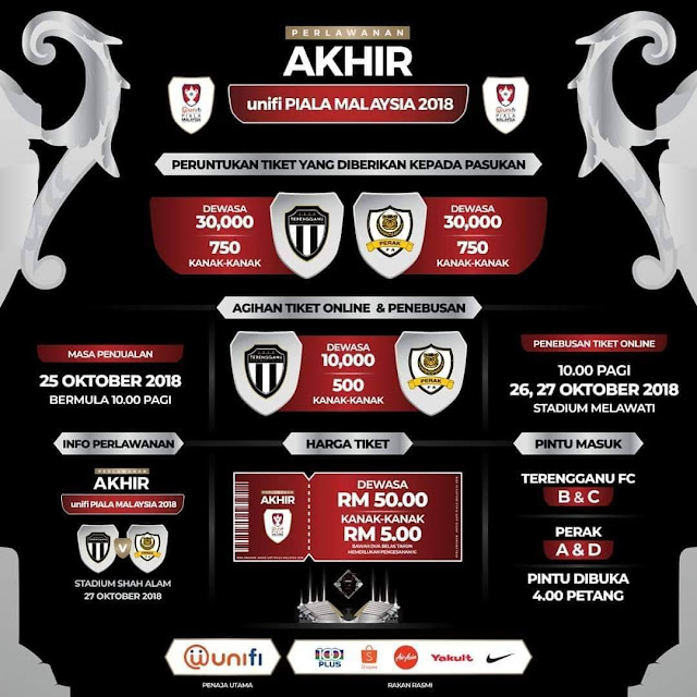 Harga Tiket Final Piala Malaysia 2018 Terengganu vs Perak