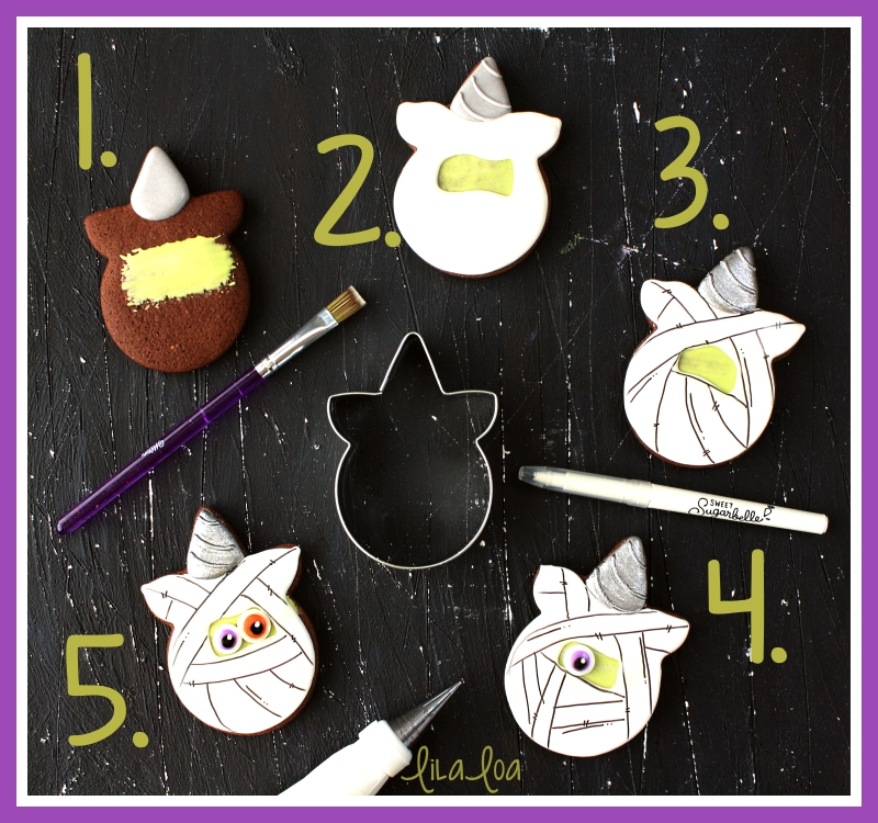 Step by step mummy unicorn decorated sugar cookie tutorial