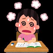 勉強しすぎの子供のイラスト(女性)