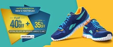 Enjoy Flat 40% Off + Extra 35% Off on Men's Branded Footwear @ Flipkart (Limited Period Offer)