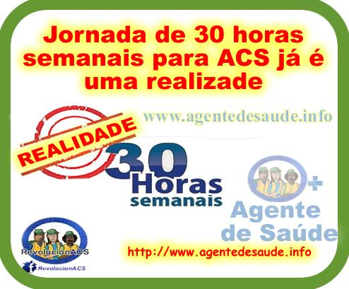 Carga horária de 30 horas para os ACS e ACE