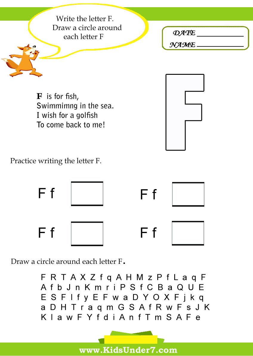 Kids Under 7 Letter F W Ksheets