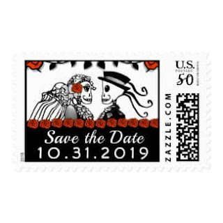 Skeletons Red Roses Custom Save the Date Postage Stamp