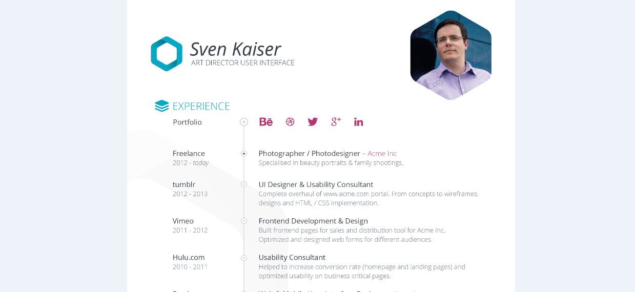 psd  free resume template 2015