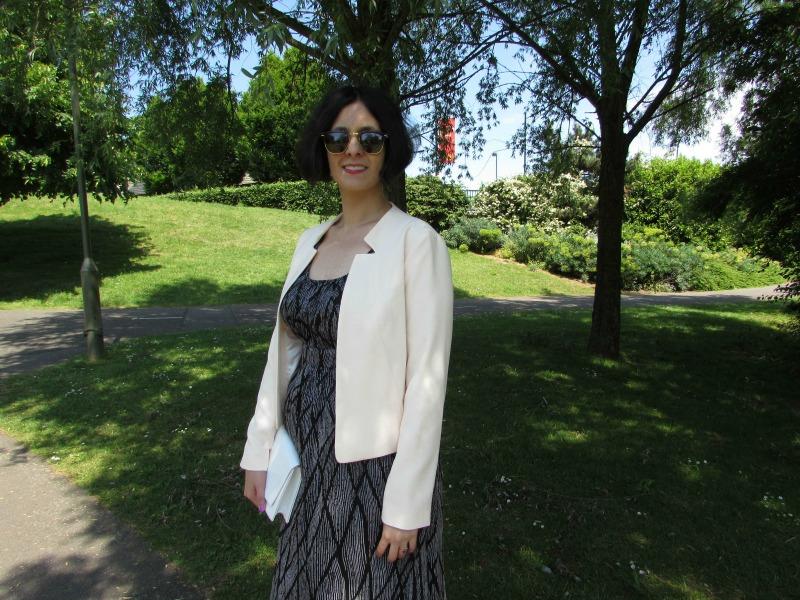 Maxi dress and blush blazer