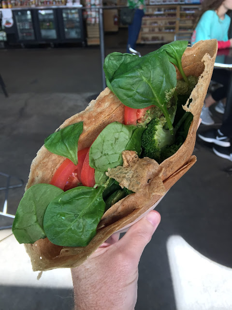 Pecan pesto vegan crepe at The Crepe Cart in the French Market of New Orleans