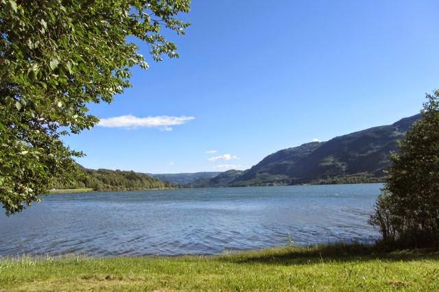 Uitzicht vanuit camper over meer in Noorwegen