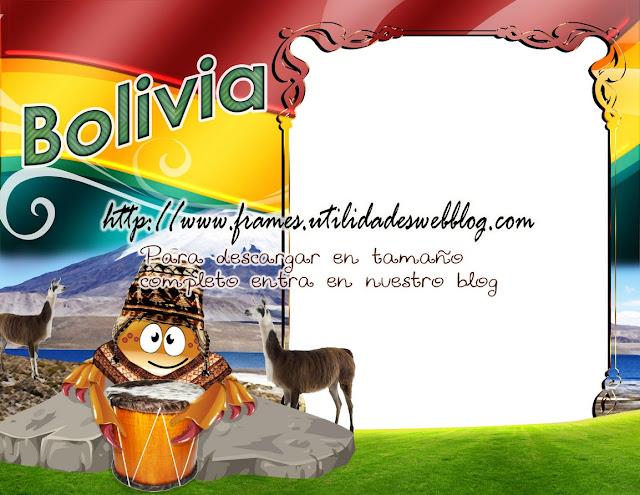 marco con bandera y tradiciones de Bolivia