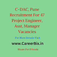 C-DAC, Pune Recruitment For 47 Project Engineer, Asst, Manager Vacancies