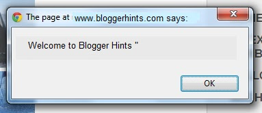 Add welcome pop up message in Blogger-Blogspot