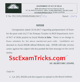 DSSSB Notice for Delhi MCD PRT 2017