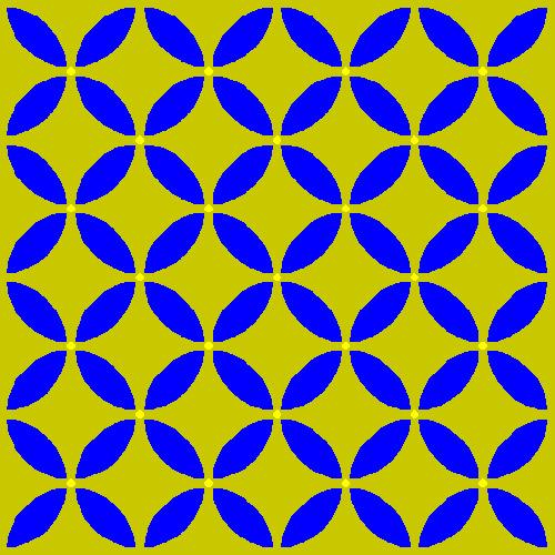 Mavi dairelerin kesişim noktalarındaki görülen ve kaybolan noktalar