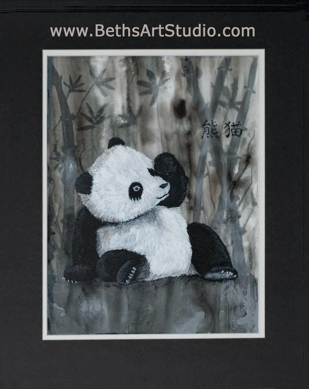 panda wildlife painting acrylic mylar Beth Campbell