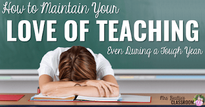 "Image of teacher with head on desk and text, ""How to Maintain Your Love of Teaching Even During a Tough Year."""