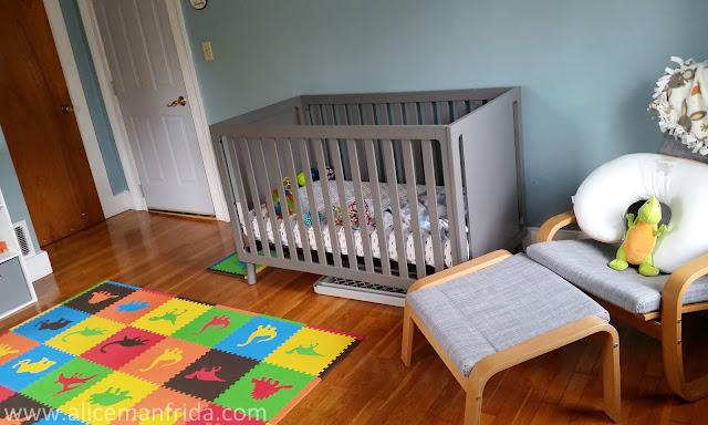 baby's first bedroom, nursery, baby boy, dinosaur kids room, children's room, play room, dinosaurs, gray crib,