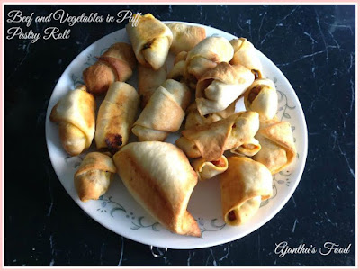 Beef and vegetables in Puff Pastry Roll