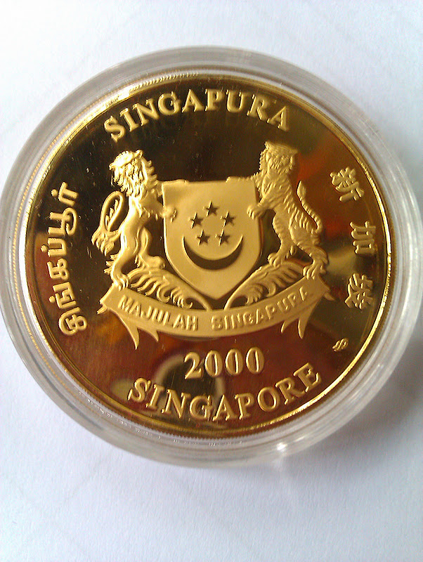 2000 Singapore 250 Lunar Dragon 1 Oz 999 Gold Proof Coin