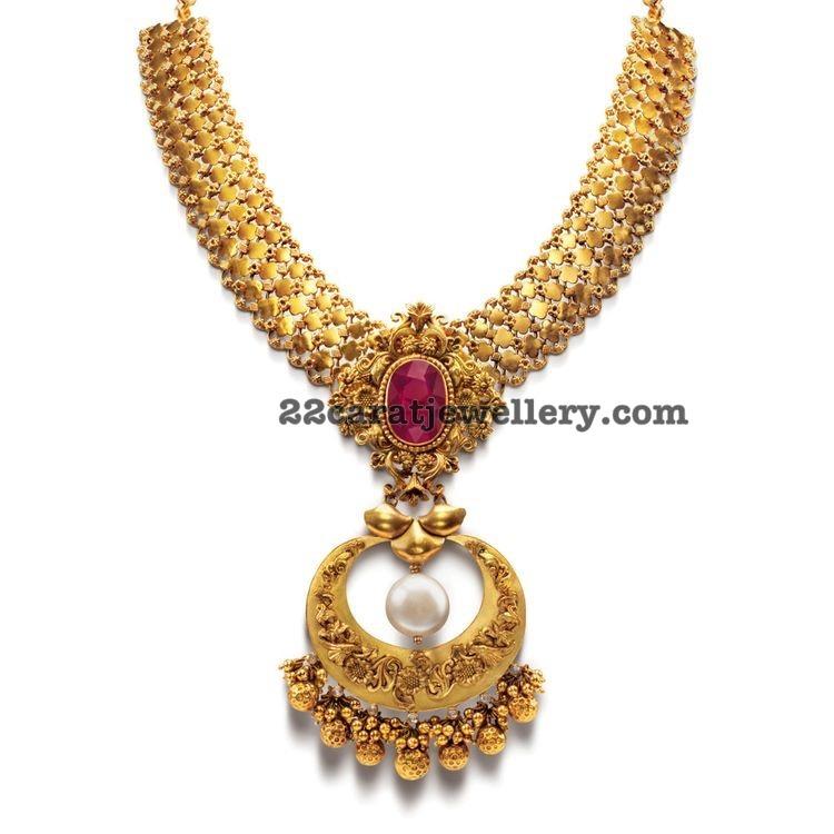 Fancy Gold Necklace with Chandbali Locket - Jewellery Designs