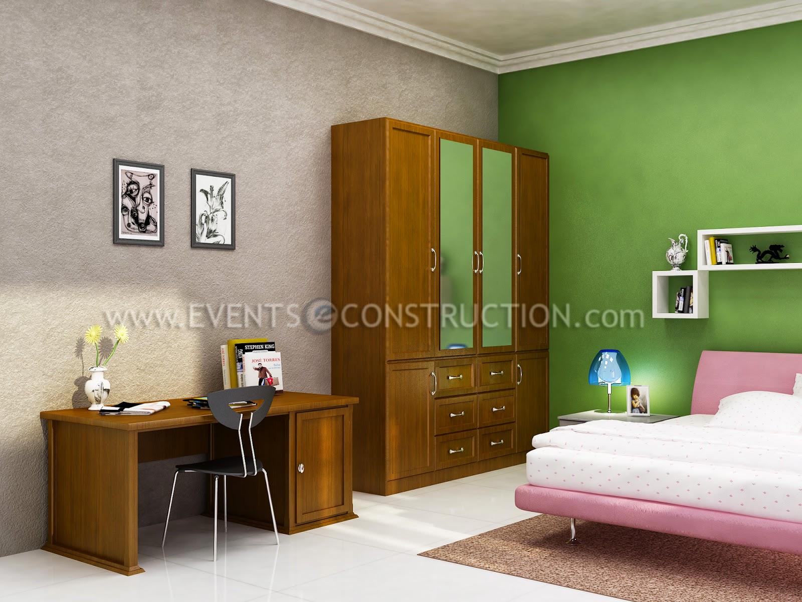 Evens Construction Pvt Ltd Kerala Bedroom Interior Design