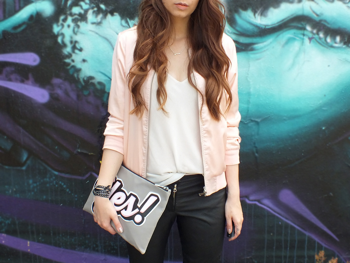 PINK BOMBER JACKET, LEATHER PANTS & YES CLUTCH