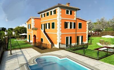 บ้านสีส้มตกแต่งด้วยสีขาว
