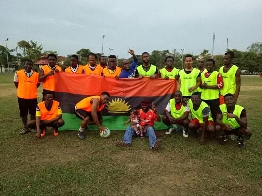 PHOTOS: Biafra Football Club Under IPOB Leader, Nnamdi Kanu Spotted In Malaysia