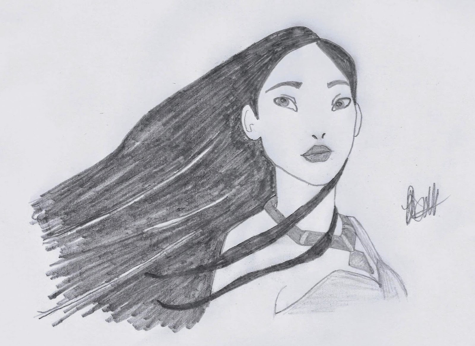 Pocahontas sketch by Jo Linsdell, Disney illustration study