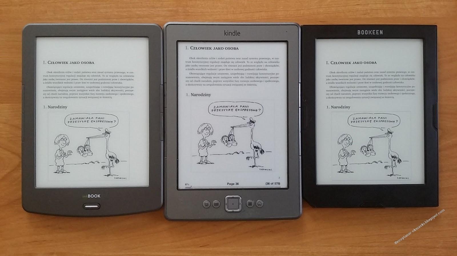 czytniki InkBOOK Classic 2, Kindle Classic, Cybook Muse Light z fragmentem e-booka  Codziennik Prawny