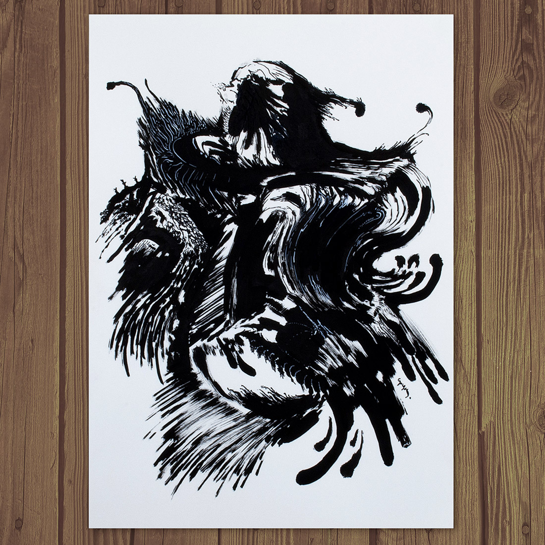 Photo of Kostas Gogas' Artwork 'Black Rooster', an abstract black drawing on paper, resembling a Rooster.