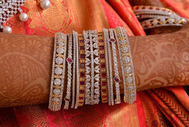 Designer Diamond Bangles for weddings
