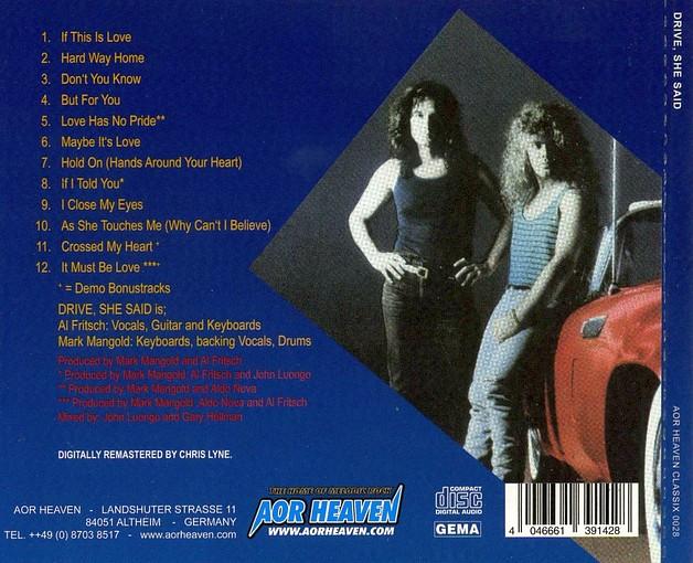 DRIVE SHE SAID - ST [AOR Heaven Classix remastered +2] back