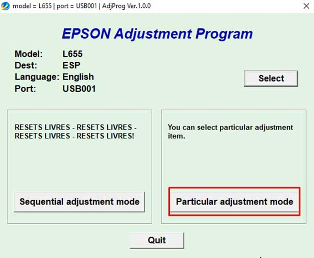 Particular adjustment mode epson l655