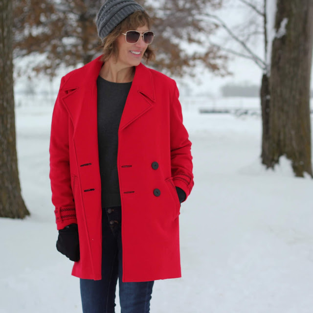 Simplicity 8451 red wool coat with decorative stitches created in the Embroidery Mode with the Pfaff Creative Icon - worn open