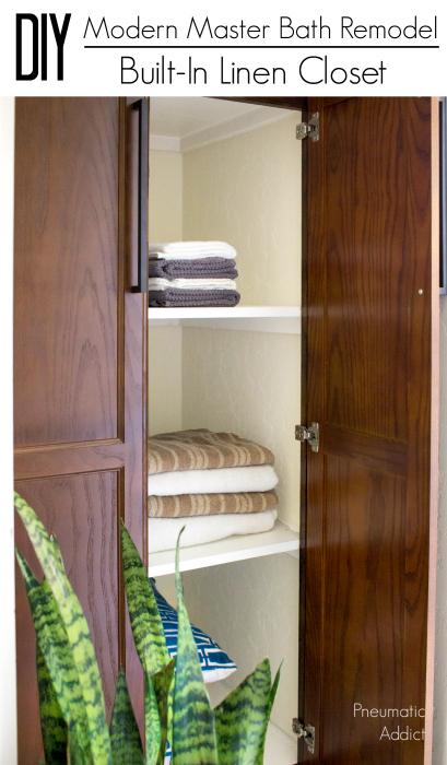 how to remodel modern master bathroom diy upgrade linen closet bathroom