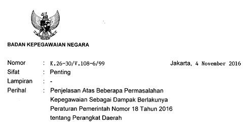 Surat Kepala BKN: Penjelasan Atas Beberapa Permasalahan Kepegawaian Sebagai Dampak Berlakunya PP Nomor 18 Tahun 2016 Tentang Perangkat Daerah