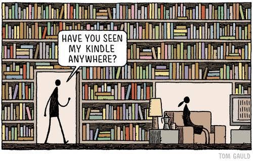 Humor sobre provocar con un kindle en una biblioteca convencional