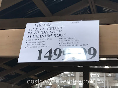 Deal for the Yardistry Cedar Wood Pavilion with Aluminum Roof at Costco