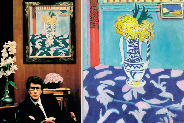 "Yves Saint Laurent | Henri Matisse ""Les coucous, tapis bleu et rose""  - Kukułki, niebieski dywan i róże (1911) Collection Yves Saint Laurent & Pierre Bergé"