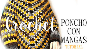 Poncho Crochet con Mangas / Tutorial